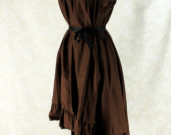 """Cap Sleeved Ragamuffin Dress in Dark Brown Cotton -- Size S, Fits Bust 33""""-36"""" -- Ready to Ship"""