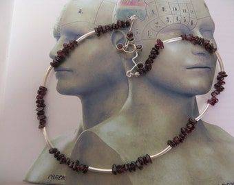 Endorphin molecule necklace, silver and red garnet stones, molecule jewelry; molecular jewelry,neurotransmitter, serotonin dopamine