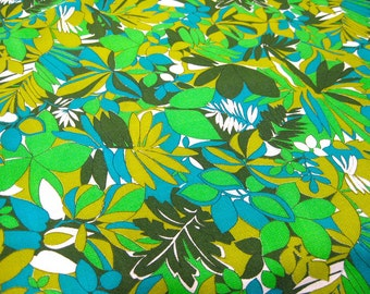 "Vintage Fabric - Jungle Plants - Turquoise, Aqua and Green - 56""L x 44""W - 1960's - Retro - Sewing Material - Craft Supply - Yardage"
