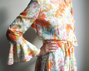 70s Floral Dress Boho Dress Bohemian Hippie Retro Ruffle Dress Long Sleeve Hyltea of Sweden Yellow Orange Medium