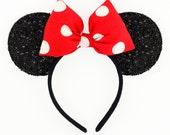 Minnie Mouse Ears Red Minnie Mouse Halloween Costume Polkadot Minnie Mouse Bow Sparkle Minnie Ears Headband Mickey Ears Minnie Mouse Costume