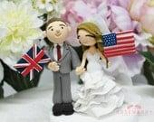 Custom Cake Topper- American & English Wedding