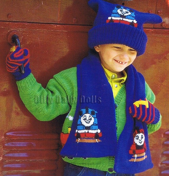 Thomas Tank Engine Intarsia Hat Scarf And Mittens