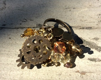 Charm Ring, Wire Wrapped, Adjustable, Antique Gold, Plated Brass, Brass Wire, Glass & Metal Beads, Discs and Gears, Steam PUnk