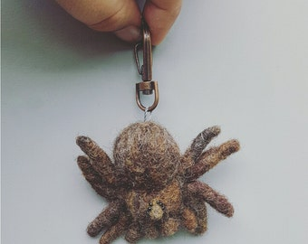 Tarantula keychain, felt spider, needle felted arachnid, weird pets, creepy cute, ugly cute, soft sculpture, purse charm, brown tarantula