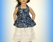 """Boardwalk Boutique Outfit for 20"""" Maru and Friends Doll, Dianna Effner Sculpt, Handmade Clothes in Blue Bandana and White Eyelet, Top & Pant"""