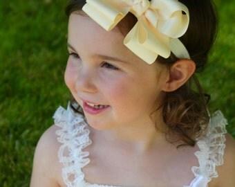 Ivory Baby Headband Bow - Bow Headband - Baby Bow Headband