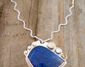Lapis with Moonstone, Blue Topaz, Citrine in Sterling Silver Bird Pendant