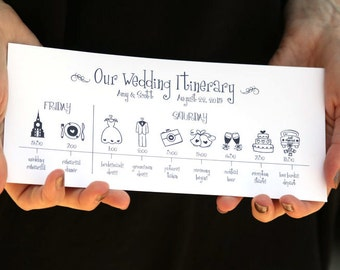 Wedding Timeline -- Printable Digital File, Schedule, Itinerary, Illustration Icons, Clipart