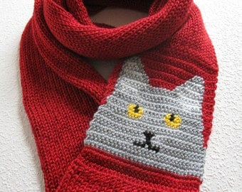 Cat Infinity Scarf. Red, knitted circle scarf with a gray cat. Long knit cowl scarves.