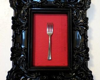 FORK! Miniature Fork Framed in Fancy Glossy Black Frame