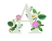 A - Floral letter - Floral print - Monogram letters - ABCs Wall Decor - floral alphabet