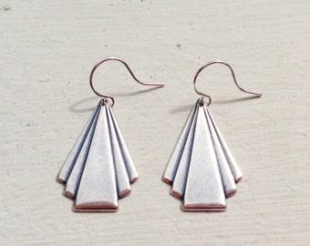 Art Deco Earrings/Triangle Earrings/Antique Silver Earrings/Silver Earrings/Gift For Her/Art Deco Jewelry/Boho Earrings/Bohemian Earrings