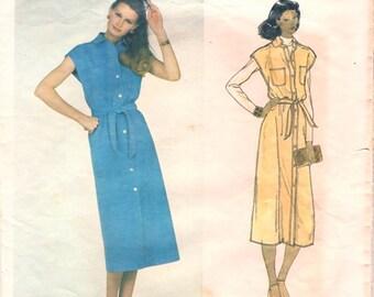 Great Vintage 1970s Vogue American Designer 2096 Bill Blass Blassport Ltd. Cap Sleeve Front Button Dress or Jumper Sewing Pattern B34