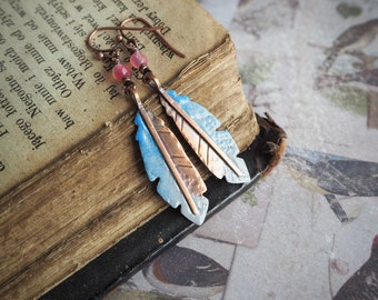 feather copper enameled earrings, colorful dangle earrings, bohemian, blue and pink, agate, rustic style, long earrings, tribal, nature