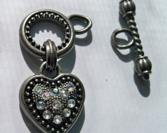 Swarovski Crystal Rhinestone Heart Toggle Clasp 15mm Antiqued Nickle