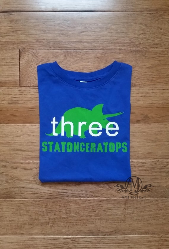 Personalized dinosaur birthday  shirt, triceratops shirt, boys birthday shirt