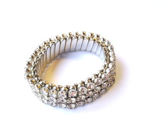 Vintage Rhinestone Expansion Bracelet Stretch Bridal Fashion Retro Jewelry