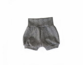 knit herringbone pull on puffy balloon baby infant bloomer shorts