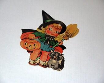 Vintage Halloween die cut / witch black cat pumpkin jack o lantern JOL / party decoration Dennison wall decor / craft scrapbook ephemera