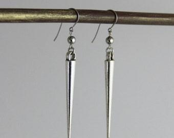 Single Spike - Metallic Silver Spiked Dangle Drop Earrings - Surgical Steel Sterling Silver Big Long Spiky Modern Edgy Moto