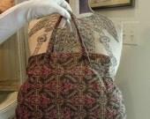Vintage / Antique 1920's Tapestry Purse / Tapestry Handles / Small Carpet Bag / Handbag