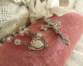Vintage Italian Sterling Silver Rosary / Sterling Silver Pectoral Rosary / Crucifix / Cross / Clear Cut Crystal Beads / Sacred Heart