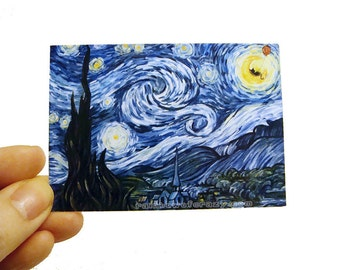 Clearance Sale: Starry Night Art Print, Black Cat, Red Balloon, Vincent Van Gogh, ACEO Art Card