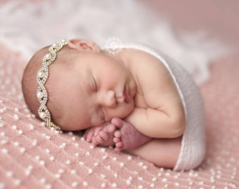 Baby Headbands Baby Rhinestone Headbands Baby Girl Headbands Newborn Headbands Christening Headbands Baptism Headbands Pearl Headbands