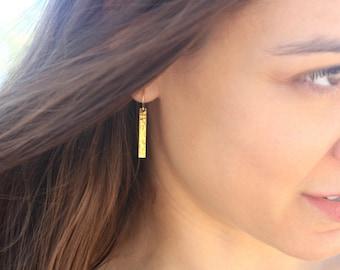 Hammered Gold Bar Earrings, Gold Stick Earrings, Long Gold Dangle Earrings, 24k Gold Vermeil Earrings, Simple Elegant Gold Earrings