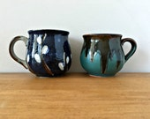 Retro Pottery Mugs Mis Matched Mug Collection Handmade