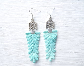 Silver and Blue Lace Earrings