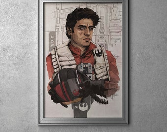 Poe Dameron - STAR WARS - Episode VII - The Force Awakens - Oscar Isaac - Original Art Poster