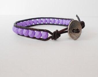 purple beaded leather wrap bracelet, surfer cuff, arm candy, friendship cuff bracelet, boho bracelet, stacking bracelet, gift for her