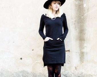 SALE Black Tunic Dress, Bohemian Dress, Long Sleeves Dress, Long Tunic Top, Winter Fashion, Little Black Dress