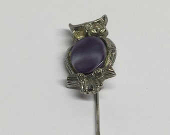 Vintage Silver Hat pin Stick pin Owl Marble Amethyst Belly Rhinestone Eyes Hat Pin