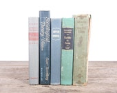 Vintage Mixed Book Set / Antique Books / Decorative Books Old Books / Vintage Books Green Blue Grey Books / Books by Color / Books for Decor