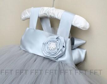 Silver Gray Flower Girl Tutu Dress