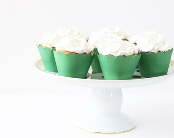 Green Cupcake Wrappers Green Party Supplies Cupcake Liners Boy Birthday Party St Patricks Day Green Baby Shower Decor Christmas  / Set of 12
