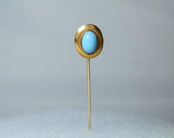 "Antique Stick Pin 10k Yellow Gold Persian Turquoise 2.20"" Pin Antique Jewelry DanPickedMinerals"