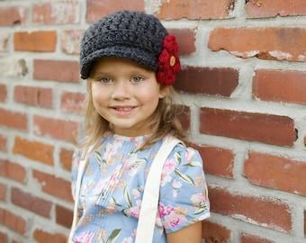 Kids Hat / Newsboy Hat for Children / Children's Accessories / Little Girls Hat with Flower / Todler Hat / Children's Hat / Photo Prop