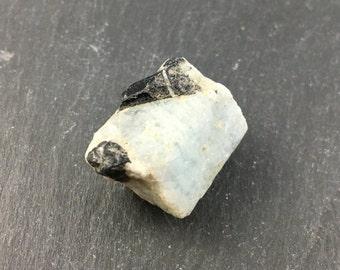 Aquamarine Rough Crystal with Black Tourmaline // Healing Crystals