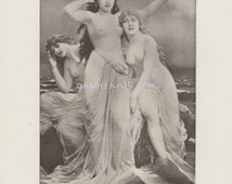 Sexy Sirens Of Mythology - Mermaids - 1902 Antique Vintage Art Print-Beautiful Nude Maidens Lure Sailors To Their Death - Sea Nymphs
