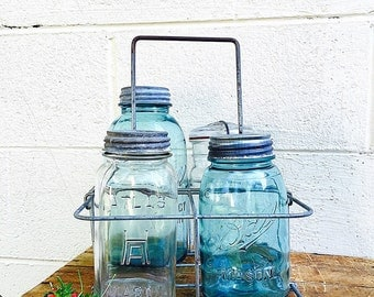 MILK BOTTLE CARRIER | Vintage (c.1940's) Galvanized Metal Wire Bottle Carrier | Bottle Tote/Rack | Canning Jar Carrier/Tote | Industrial