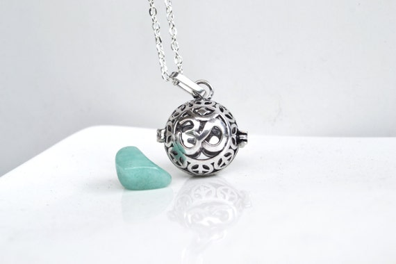 Yoga Om Necklace, Crystal Cage Necklace, Amazonite Necklace, Om Locket, Interchangeable Stone Cage, Om with Stone Necklace, Unique Om