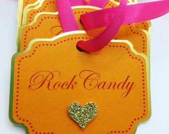 Hot Pink, Orange, and Gold Heart Custom Buffet Labels with Ribbon, Moroccan Shower Labels, Tent Cards, Picks, Stickers, Mason Jar, Candy Jar
