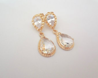 Gold earrings - Cubic Zirconia's 14k gold over sterling posts - Gold teardrop earrings ~ Clear, Brides earrings, Bridesmaids jewelry ~ Gift