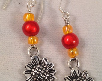 Sunflower Orange Acrylic SS Dangle Earrings