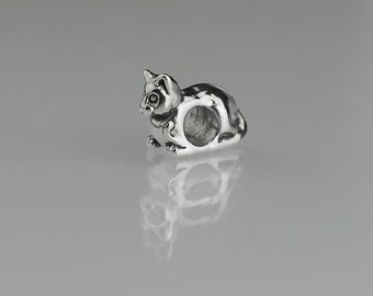 Pair of 12mm Sterling Silver Kitty Cat Beads Animal Bead Set of 2