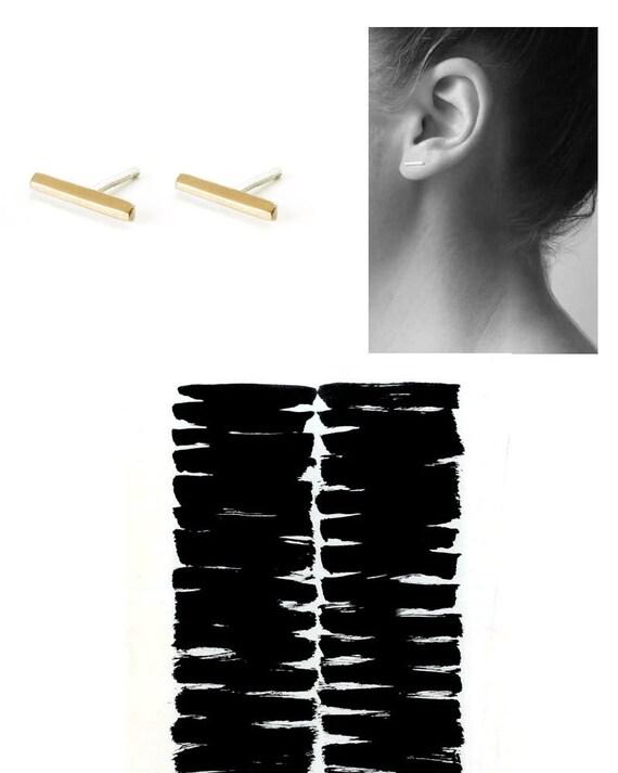 Bar Earring, gold studs earrings, handmade (gold plated 24K), gold  bar stud earrings